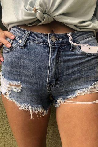 Low Rise Dark Denim Distressed Shorts