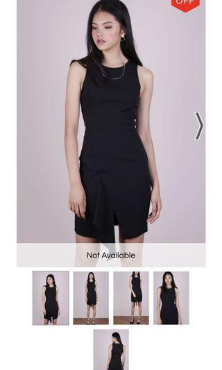 TTR fran ruffles shift dress in black