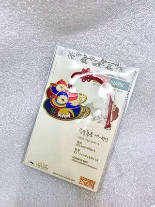 韓國製造 鴛鴦 傳統金屬彩色書簽