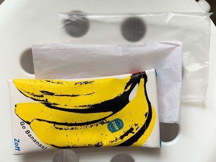 全新 Zoff popart 蕉花眼鏡袋