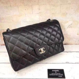 Authentic Pre-loved Chanel Jumbo Caviar Leather Double Flap Bag SHW