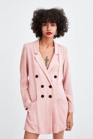 Zara pink blazer jumpsuit