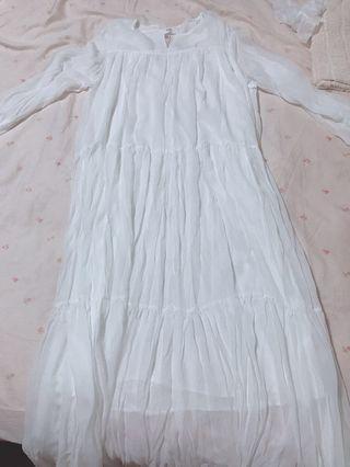 🚚 白色洋裝長裙