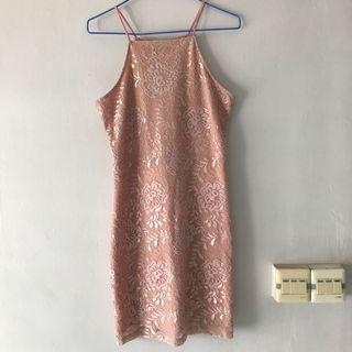 🚚 Supergurl pink lace halter dress