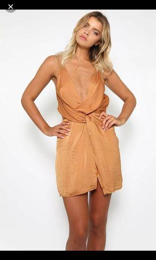 Morning mist rust twist dress