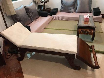 🚚 Solid Teak Wood Lounge Chair