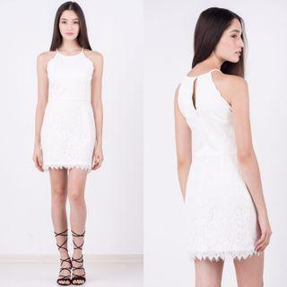 🚚 Gladys scallop lace dress in WHITE