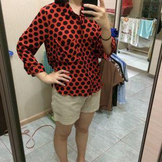 Odiva red polkadot shirt