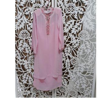 Soft pink kurung chiffon Fidz Collection