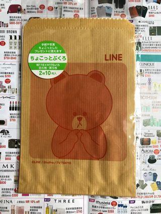 Line Friends 全新 熊大紙袋 白/茶色各5個