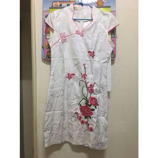 中國風 韓國 中式旗袍 梅花刺繡短款 旗袍 白色 cosplay 實穿