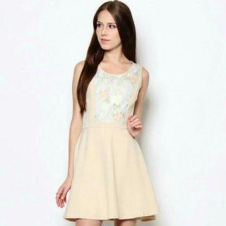 New Beige Floral Dress