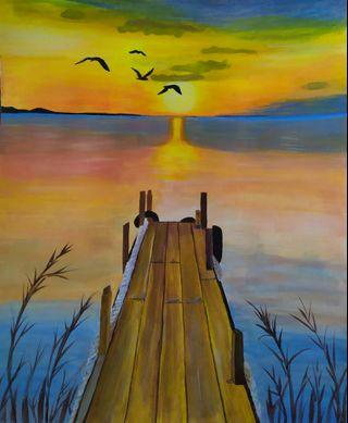 Handpainted acrylic landscape painting: Sunset #acrylic painting #wall art #decoration