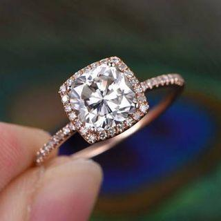 1 Carat Moissanite Diamond Halo Accent 18K Rose Gold Ring