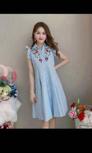 Embroidery Dress in Blue