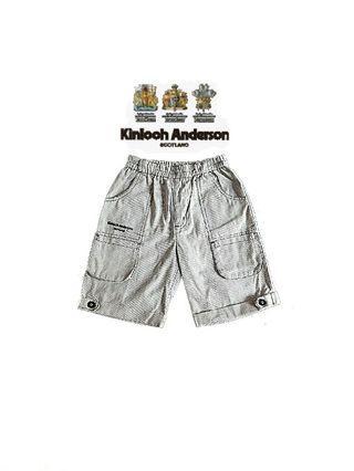 專櫃購得*小金安德森kinloch Anderson 前後雙口袋 細直條紋 反折褲管英倫紳士男童短褲/五分褲(85)