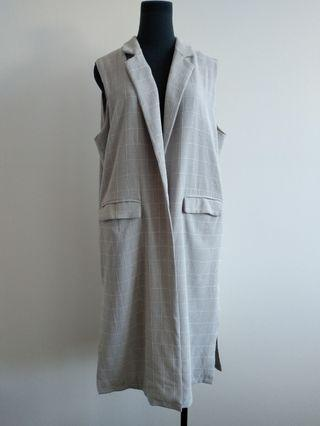 Stellino grey sleeveless duster jacket 10 12 14
