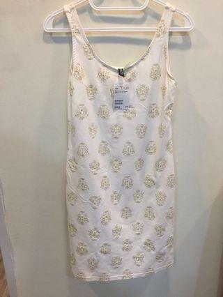Skull Printed White Dress