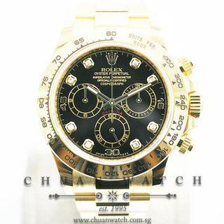 Pre-Owned Rolex Cosmograph Daytona Yellow Gold 116508 Black Diamonds