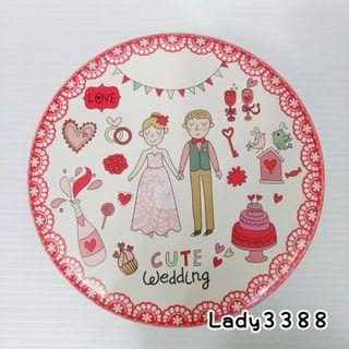 🚚 結婚新人上下蓋圓形喜糖鐵盒 中款 W185-2