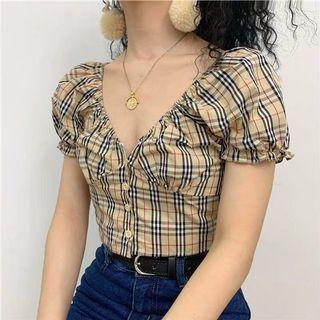 INSTOCKS 2 way retro buttoned Down Cropped Top - brown plaid