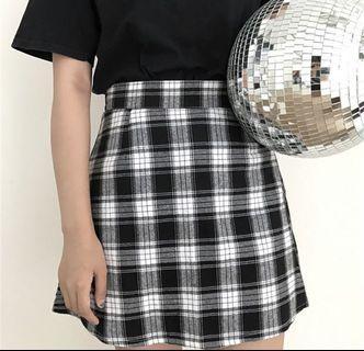 Checkered High Waisted A Line Skirt