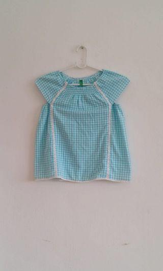 7 to 8 yrs old United Colors of Benetton gingham check sky blue top