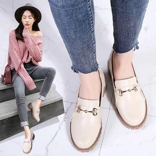 米色粗跟復古樂福鞋