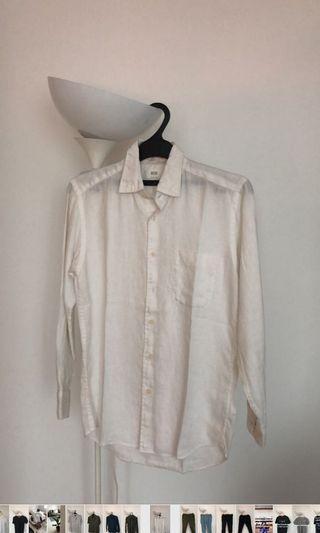 Uniqlo white linen shirt