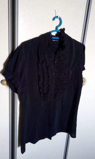 Black ruffled Office Blouse