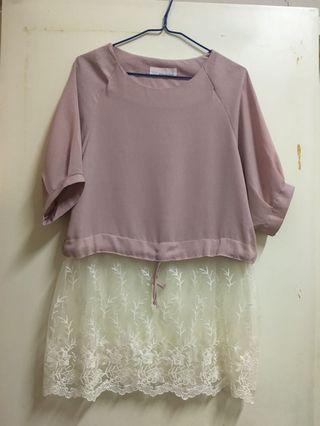 淺粉色 lace 裙