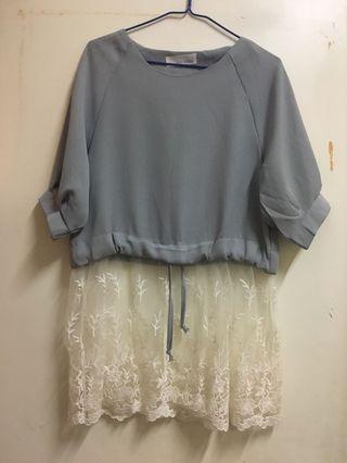 灰色 lace裙