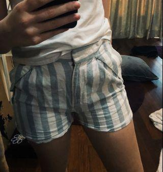 Short Pants with White and Light Blue Stripes