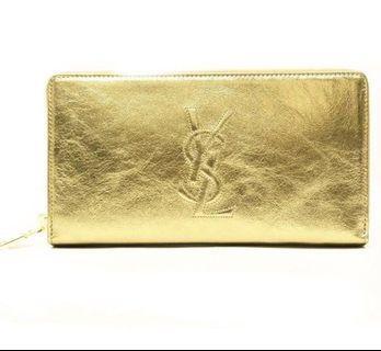 SALE for 260!💯Authentic YSL zip around wallet in metallic gold