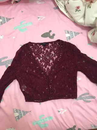 F21 Maroon Bell Sleeve Lace Crop Top