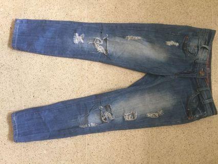 Slim boyfriend ripped jeans