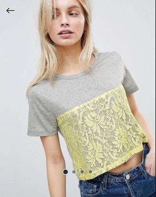 ASOS QED London 女裝短身 Lace T-shirt 全新
