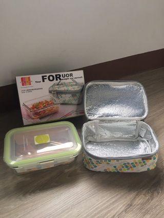 保鮮盒➕保冷熱提袋 玻璃 耐熱