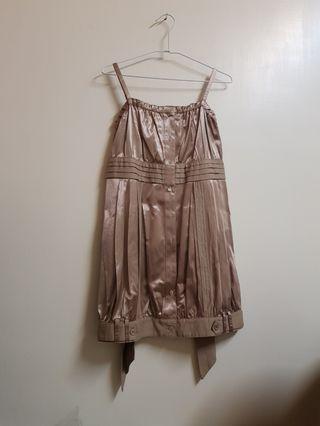 moma後綁帶緞面小禮服洋裝