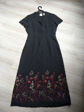 美國品牌黑色雪紡印花兩件式(長洋裝+罩衫)
