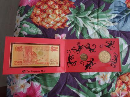 Year of monkey coin and dollar set