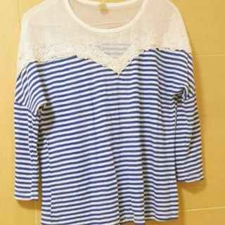 Blue and white top summer look 藍白間網紋上膊 襯衫
