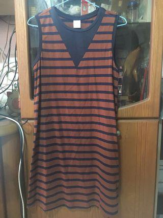Brown and blue stripes sleeveless dress