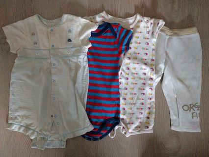 Baby set (first one made in Japan) + 2 all-in-one + Hallmark trousers