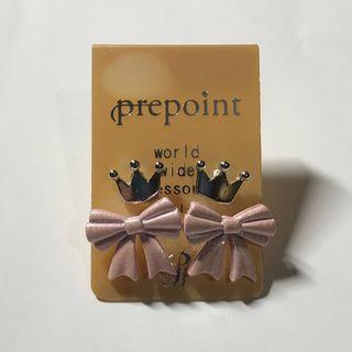 日本《prepoint プリポイント》小王冠+粉紅蝴蝶結耳環