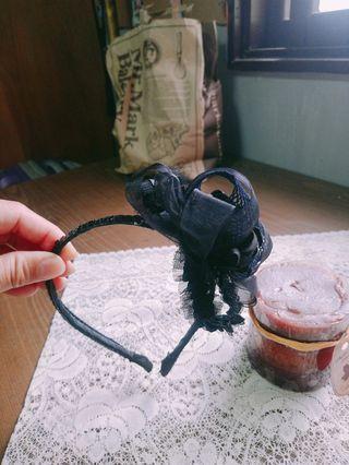 全新~手作黑色蝴蝶緞帶髮箍