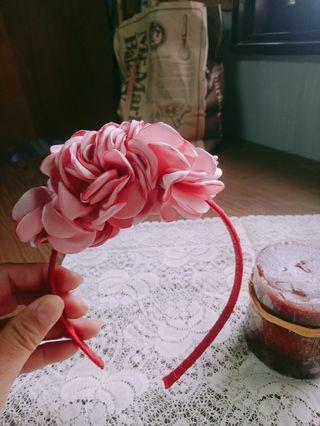 全新~手作粉色花苞緞帶髮箍