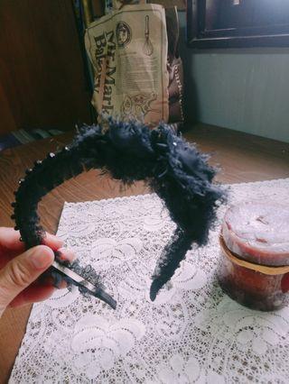 全新~黑色蕾絲緞帶髮箍