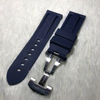 Panerai Aftermarket 24mm Logo Navy Rubber Strap with Deployant Clasp