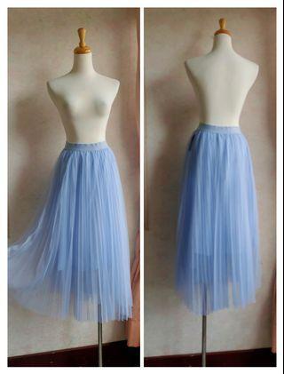 🚚 精緻紗裙落地鬆緊帶裙長裙